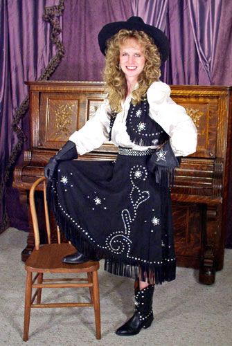 Handmade Deer Hide Skirt and Vest Buckskin Ensemble RHINESTONE COWGIRL