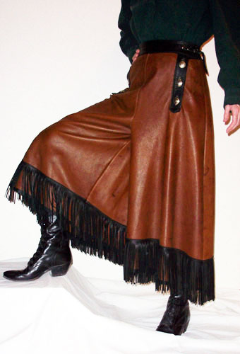 Handmade Deer Hide Split Skirt with Conchos Studding and Fringe