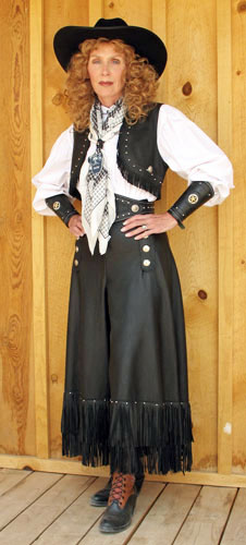 Handmade Deer Hide Double Fringe Split Skirt and Vest Ensemble