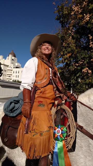 Handmade Painted Palomino Buckskin Split Skirt and Vest Ensemble