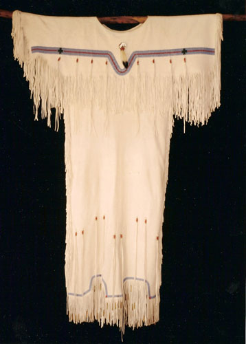 Handmade Painted Beaded Buckskin Dress with Tassels and Fringe
