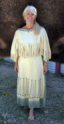 Handmade Painted Deer Hide Natural Buckskin Dress With