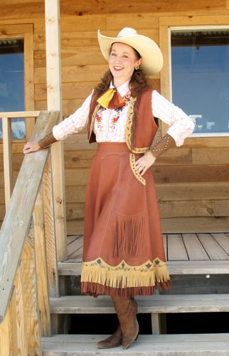Handmade Painted Deer Hide Skirt and Vest Ensemble DEVON DAWSON
