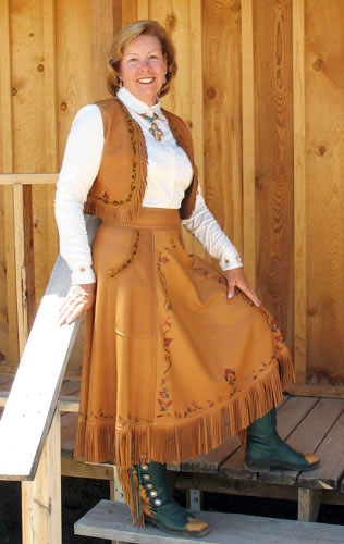 Handmade Painted Deer Hide Skirt and Vest Ensemble DIXIE BELL