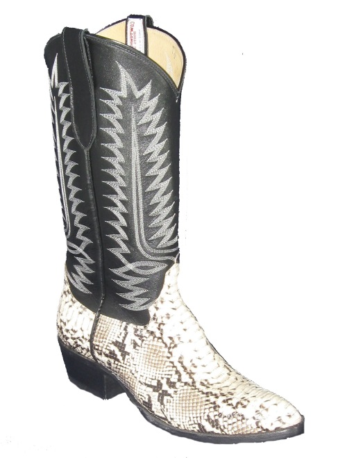 Natural Python Backcut Western Fancy Stitch Cowboy Boots