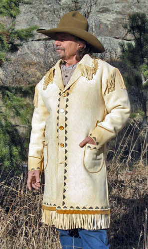 Painted Metis Design Fringed Buckskin Long Coat