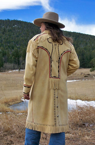 Deluxe Painted Metis Design Deerskin Long Coat