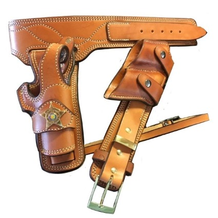 U.S. Marshall Gun Belt, Holster and Double Mag Pouch
