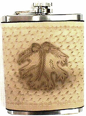 Acorn Hand Tooled Western Style 8 Ounce Hip Flask
