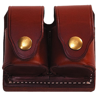 Ammunition Leather Speed Loader Double Pouch with Top Flaps