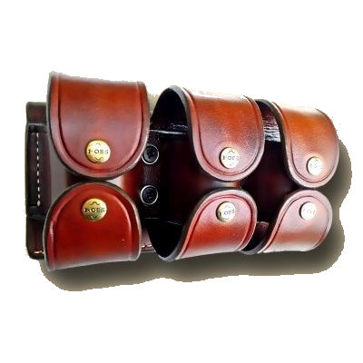 Ammunition Leather Triple Pouch Speed Loader with Top and Bottom Flaps