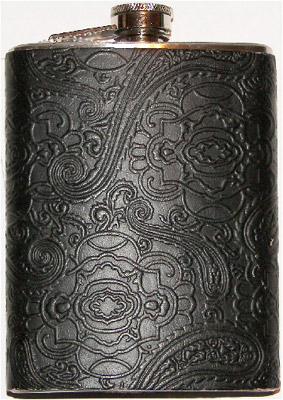 Antique Leather Hand Tooled Western Style 8 Ounce Hip Flask