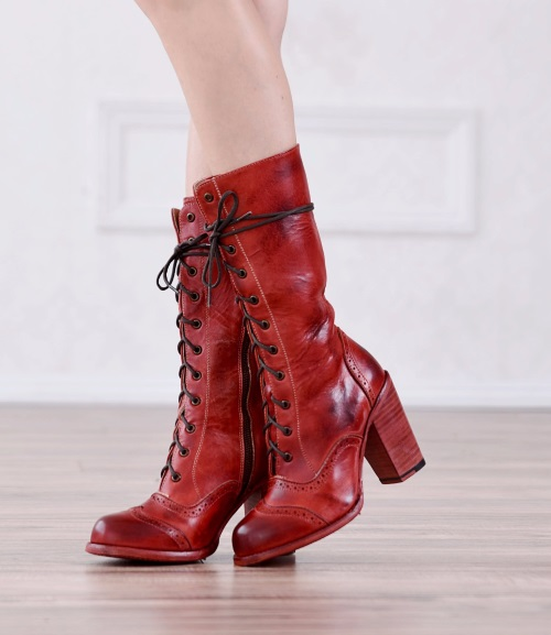 Ariana Red Leather Lace Up Fashion Western Boot