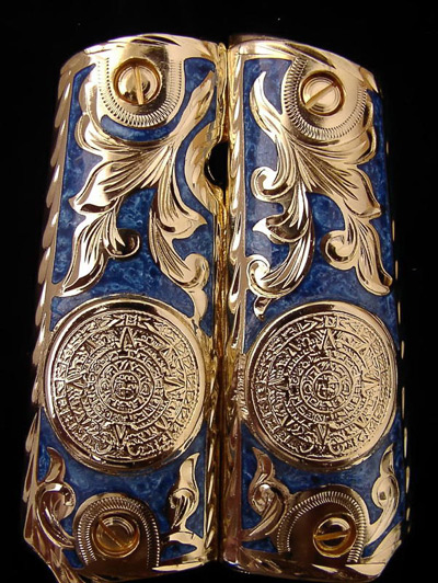 Aztec Blue Resin Inlay Gold Plated Pistol Grips