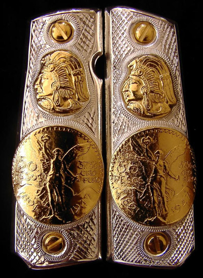 Aztec Head and Coin German Silver Gold Plated Pistol Grips