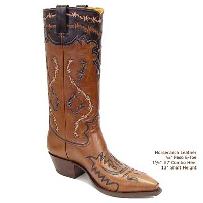 Barbwire Inlay Handmade Leather Cowboy Boots