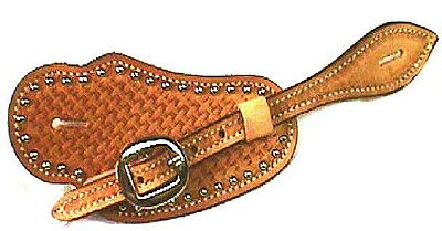 Basketweave With Spots Leather Visalia Spur Strap