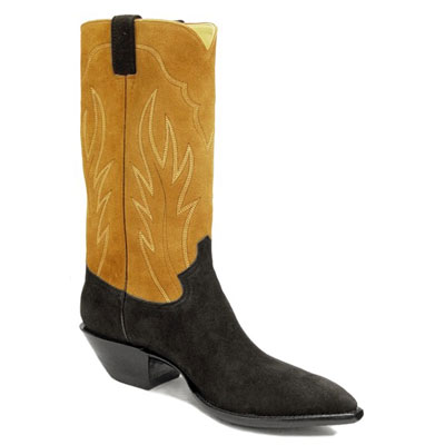 Black and Tan Suede Cowboy Boots