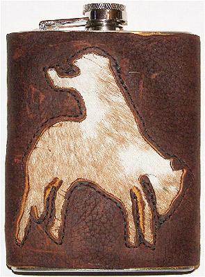 Bronc Rider Hair Inlay Leather Covered Western Style Hip Flask