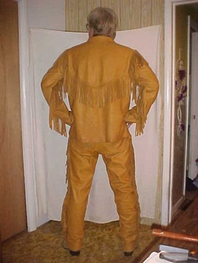 Buckskin Leather Fringe Shirt And Pants Outfit