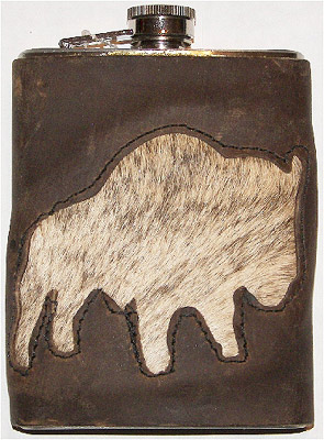 Buffalo Hair Inlay Leather Covered Western 8-Ounce Hip Flask