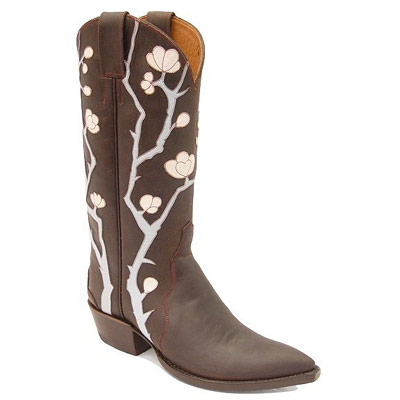 Cherry Blossom Handmade Leather Cowboy Boots