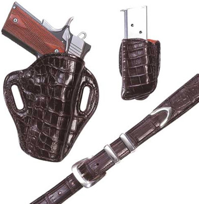 Crocodile Crosshair Gun / Pistol Holster, Friction Clip Pouch and Belt Chocolate Brown