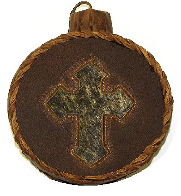 Cross Leather Covered Old West Two Quart Canteen