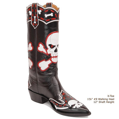 Crossbones Handmade Leather Cowboy Boots