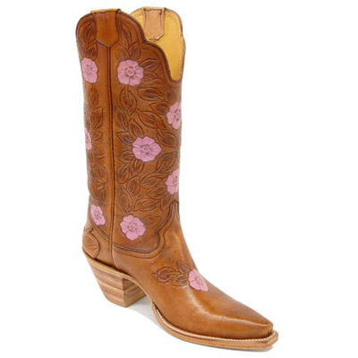 Dahlia Hand Tooled Leather Cowboy Boots