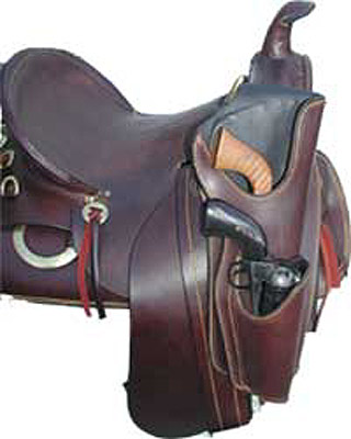 Double Tiburcio Western Cowboy Leather Pommel Holster