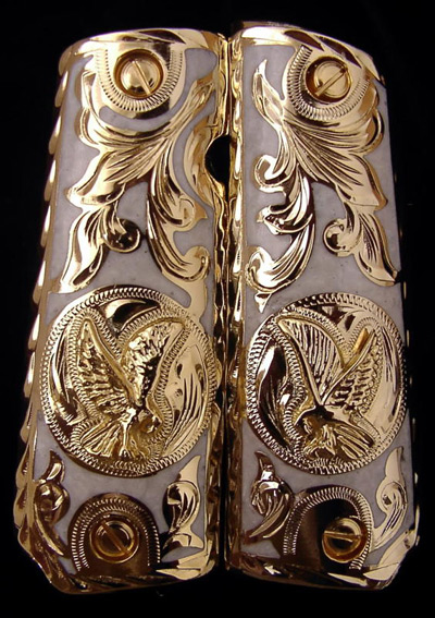 Eagle with White Resin Nacre Inlay Gold Plated Pistol Grips