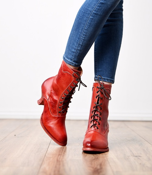 Eleanor Red Old West Lace Up Victorian Boots