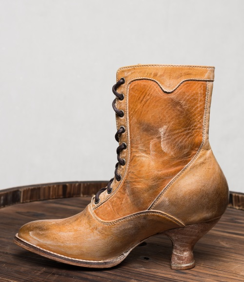 Eleanor Ankle Boots Tan Rustic Victorian Style