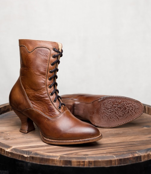 Eleanor Rustic Tan Victorian Lace Up Old West Boots