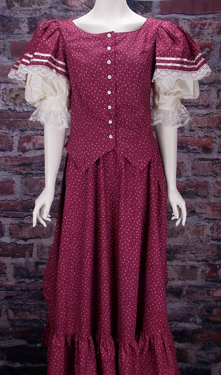 Emily Ladies 1800 Period Cotton Frontier Dress Ensemble