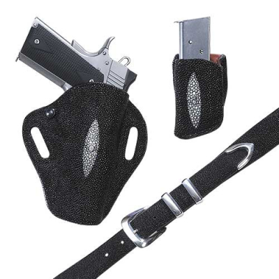 Exotic Stingray Crosshair Gun / Pistol Holster, Belt and Friction Clip Pouch