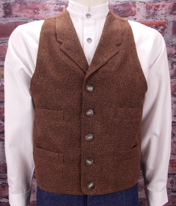 Frontier Classic Mens Pecos Brown Check Western Vest