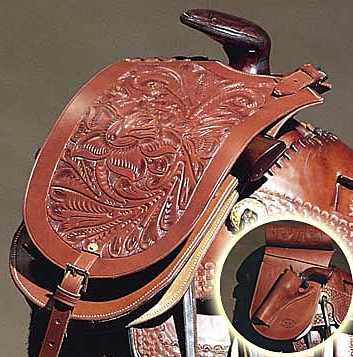 Tooled Leather Western Pommel Bag With Holster