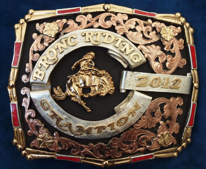 German Silver 2012 Bronc Riding Rodeo Trophy Belt Buckle