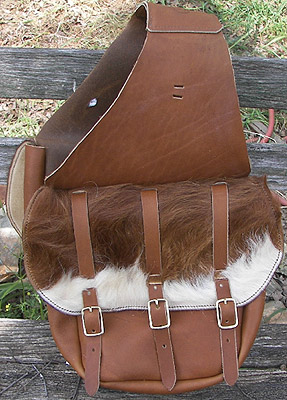 Hair On Flap Leather Western Cavalry Saddle Bags