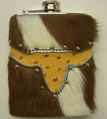 Hair On Steer Head Inlay With Spots Leather Covered Hip Flask