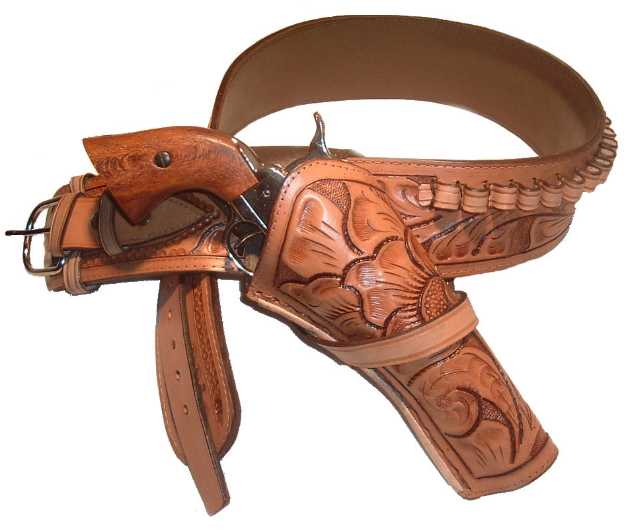 Western Gun Belt with Single Holster