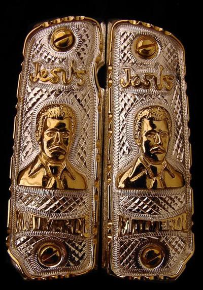 Jesus Malverde German Silver Gold Plated Pistol Grips Rg