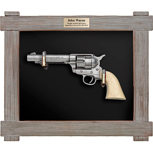 John Wayne Single Action Army M1873 Replica Pistol Framed Wood Set
