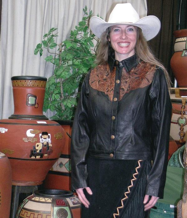 Ladies Hand Carved Western Mid Length Leather Jacket