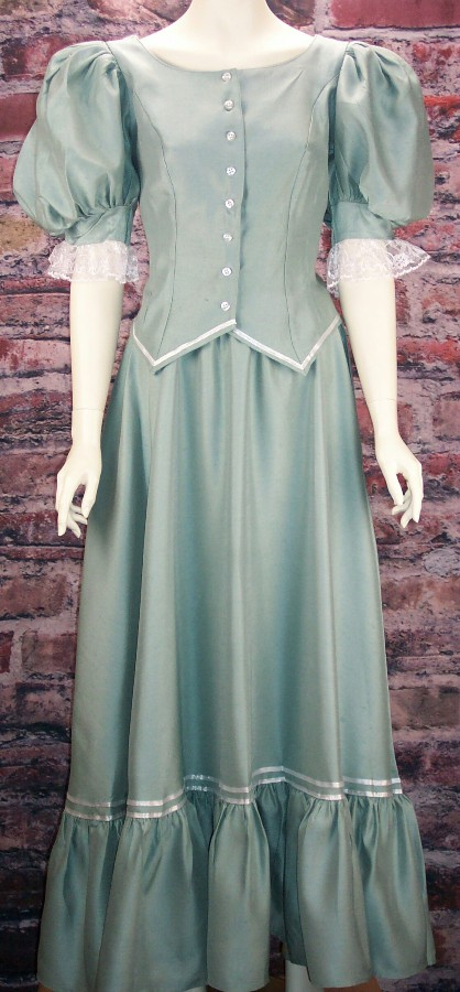 Ladies Old West Frontier Victorian Antique Satin Dress Ensemble