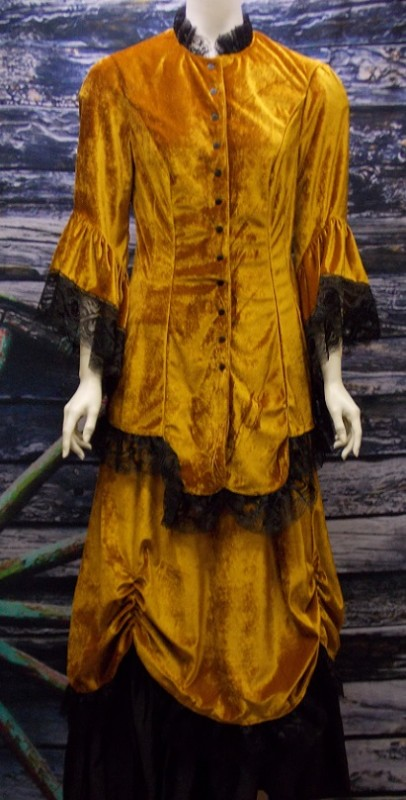 Ladies Victorian Old Frontier Velvet And Lace Dress Ensemble