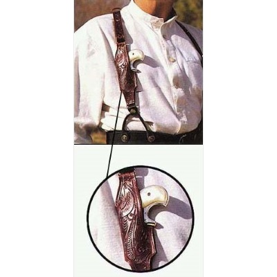 Leather Suspenders Floral Carved with Derringer Holster(s)