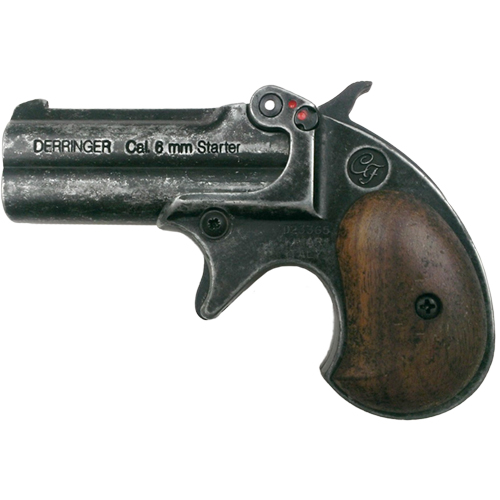 M1866 22 Caliber Double Barrel Old West Antique Gray Derringer Blank Firing Pistol